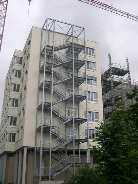 Fluchttreppe in Konstanz (Höhe 26m) als Rettungsweg