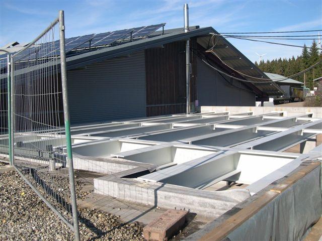 Montage einer Lagerüberdachung der Firma Rena in Furtwangen