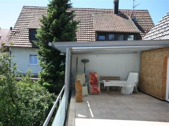 Terrassengeländer mit Pergola in verglaster Ausführung, Freudenstadt